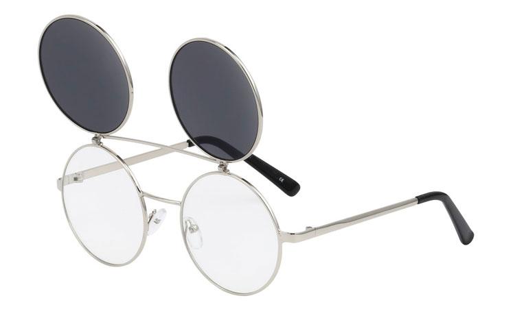 Stor metal brille med flip up solbrille