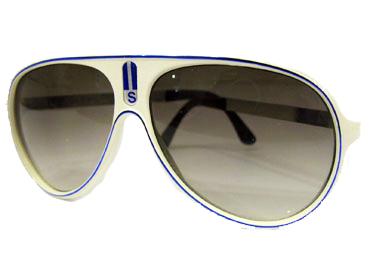 46d9339dced6 Hvid millionaire solbrille med blå streg