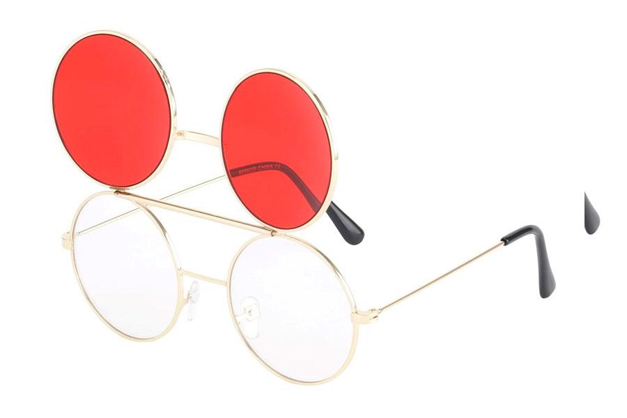 e5083442c Guldfarvet brille med flip-up solbrille med røde glas.