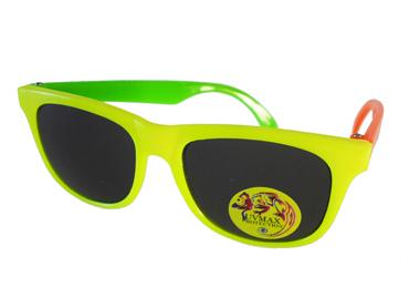 d7d9e2558f74 Børnesolbrille i wayfarer design. Gul med én grøn og én orange stang . UV  beskyttelse (1-2 år)