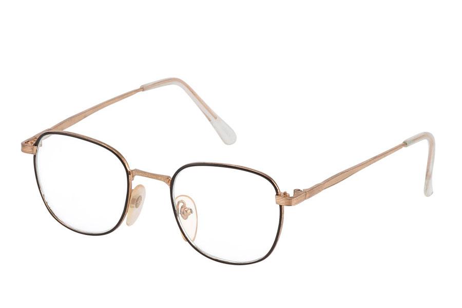 410775945 Brille med klart glas uden styrke i sort og guld