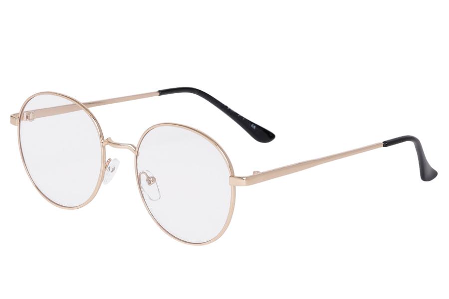 0b3a5f1ab Guldfarvet rund brille uden styrke.