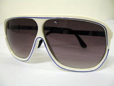 640e93375585 Hvid millionaire solbrille med blå stribe