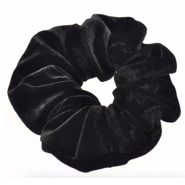 Velour scrunchie / hår elastik i sort - Design nr. 3377