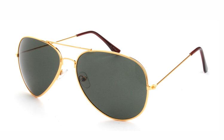 70dbf8d27797 Pilot solbrille i guldfarvet metal med grønlige glas - Design nr. 3477