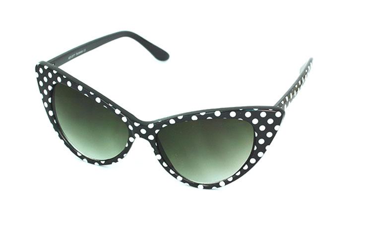 e66baa06622f Sort cateye solbrille med hvide prikker. 30´er - 50´er stil -
