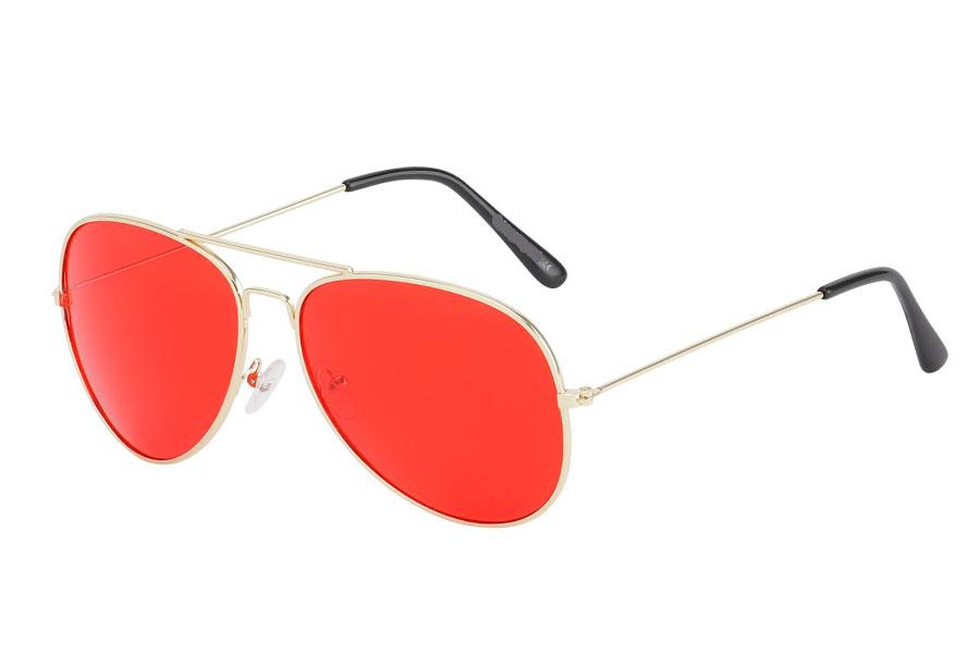 751d0c3ca4c6 Guldfarvet aviator solbrille med røde linser - Design nr. s3744