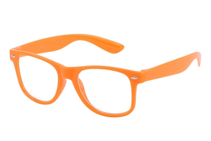 59d337f5e816 Orange brille med klart glas uden styrke. - Design nr. 3783