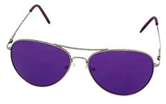 Guldfarvet pilot solbrille med lilla glas - Design nr. 978 f6b6f117bc82c